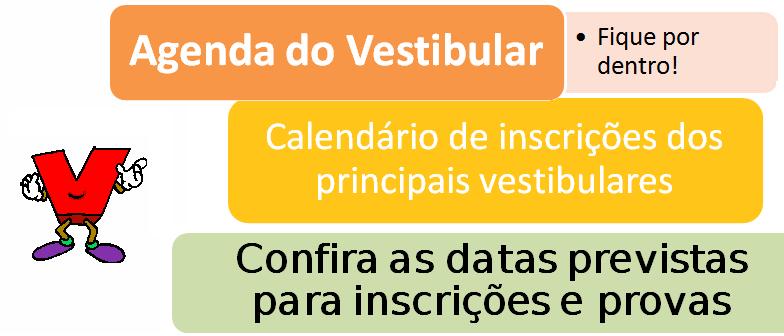 Agenda do Vestibular e calendário com as datas