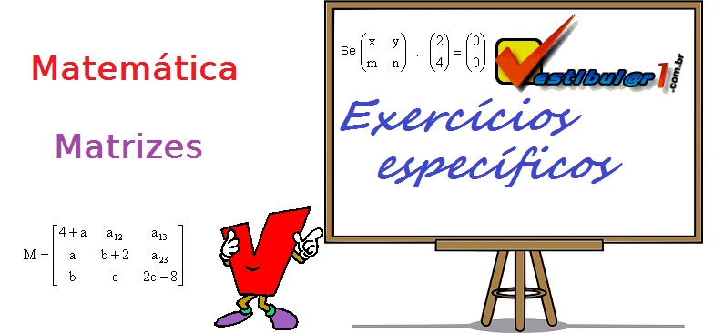 Exercícios de Matemática - Matrizes. exercícios específicos enem vestibulares