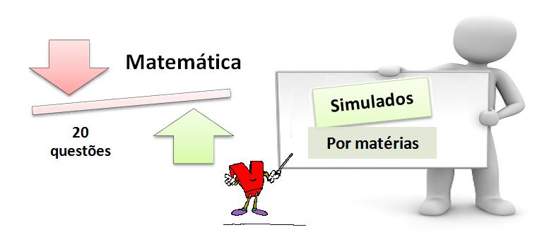 Simulado por matéria de matemática 3 de 20 questões com gabarito. Vestibular
