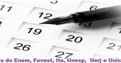 Datas do Enem, Fuvest, Ita, Unesp, Uerj e Unicamp 2017 Vestibular1