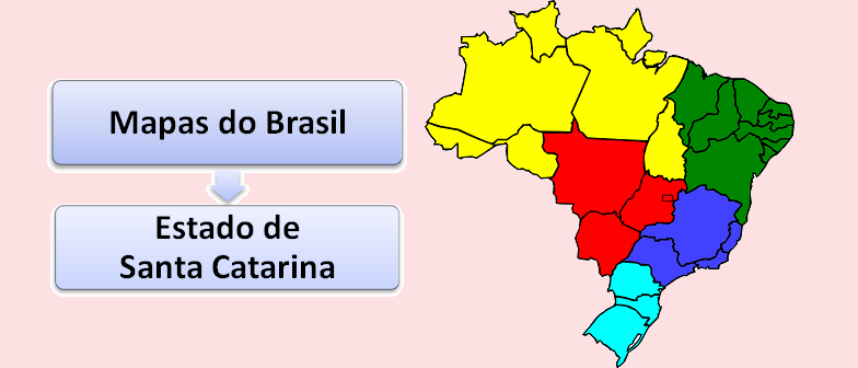 Mapa do Estado de Santa Catarina Brasil Vestibular1