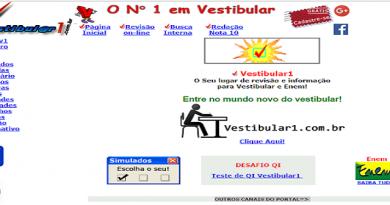 Home antiga do Vestibular1 site para Vestibular e Enem