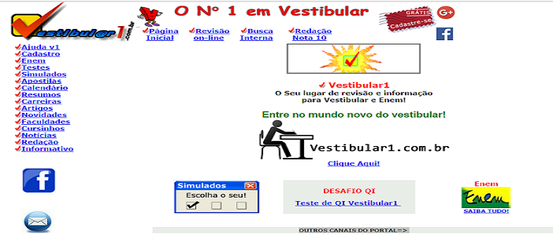 Home antiga do Vestibular1 site para Vestibular e Enem
